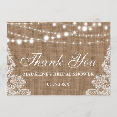 Rustic Bridal Shower Burlap Lights Lace Thank You