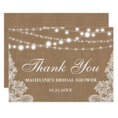 Rustic  Burlap Lights Lace Thank You