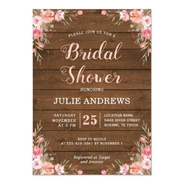 Rustic Bridal Shower Country Chic Pink Floral Wood Invitations
