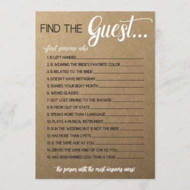 Rustic Bridal Shower Game- Match the Movie Songs