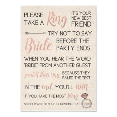 Rustic Bridal Shower Game- Pick a Ring Invitations