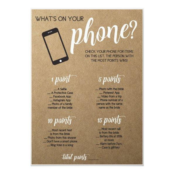 Rustic  Game- Whats in Your Phone