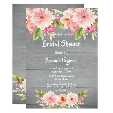 Rustic bridal Shower peach dahlia flowers brown Invitations