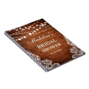Rustic Bridal Shower Wood Lights Lace Gift List Notebook