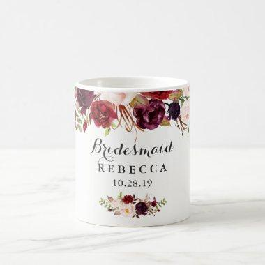 Rustic Burgundy Floral Bridesmaid Wedding Favor Coffee Mug