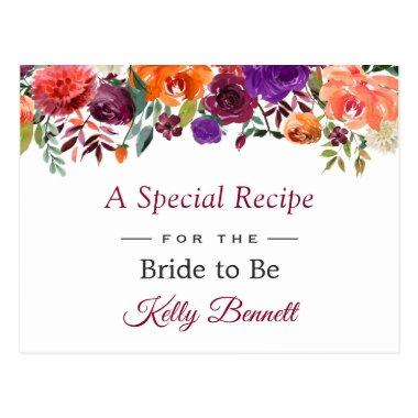 Rustic Burgundy Orange Floral Bridal Shower Recipe PostInvitations