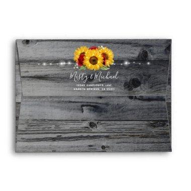 Rustic Burgundy Rose Wood Sunflower Return Address Envelope
