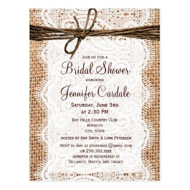 Rustic Burlap  Invitation Post