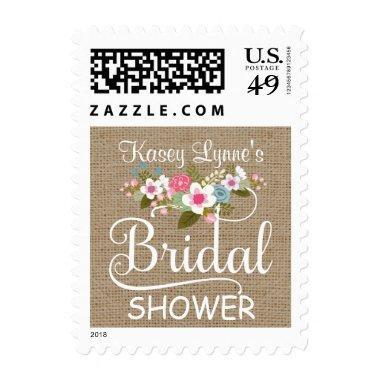 Rustic Burlap Floral  Postage