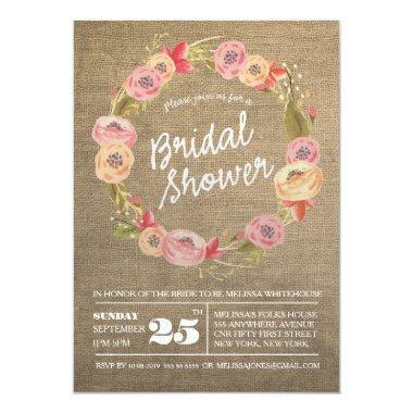 Rustic Burlap Floral Wreath  Invite