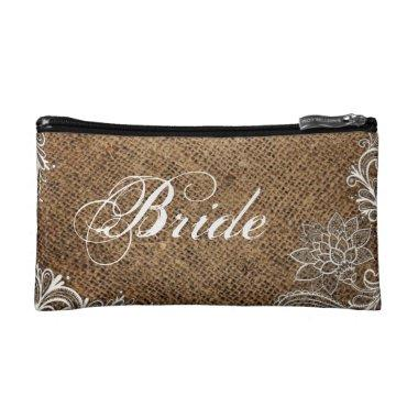 rustic burlap lace country wedding bride cosmetic bag