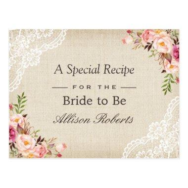 Rustic Burlap Lace Floral Bride To Be Recipe Invitations