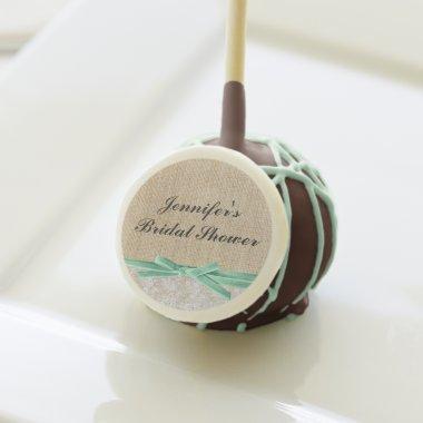 Rustic Burlap Lace Mint Ribbon  Cake Pops