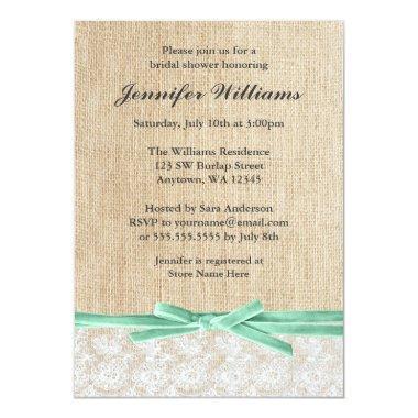 Rustic Burlap Lace Mint Ribbon Bridal Shower Invitations