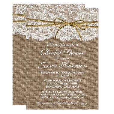 Rustic Burlap, Lace & Twine Bow Bridal Shower Invitations