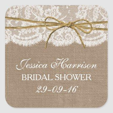 Rustic Burlap, Lace & Twine Bow Bridal Shower Square Sticker