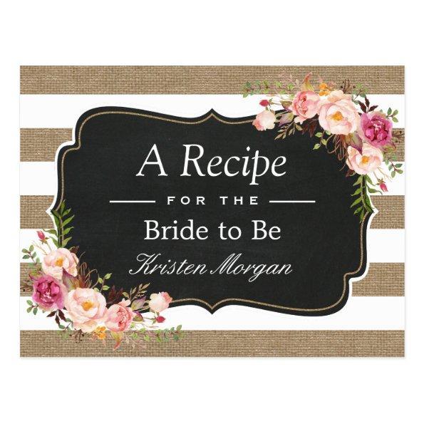 Rustic Burlap Stripes Floral  Recipe Post