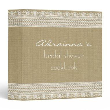 Rustic Burlap Vintage Lace  Cookbook Binder