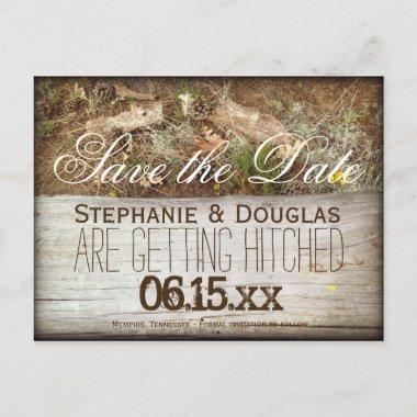 Rustic Camo and Wood Save the Date PostInvitations