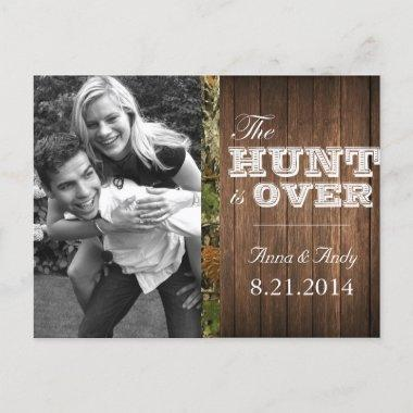 Rustic Camo Wood Save The Date Wedding PostInvitations