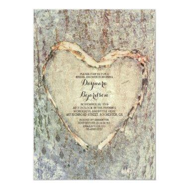 rustic carved heart tree vintage
