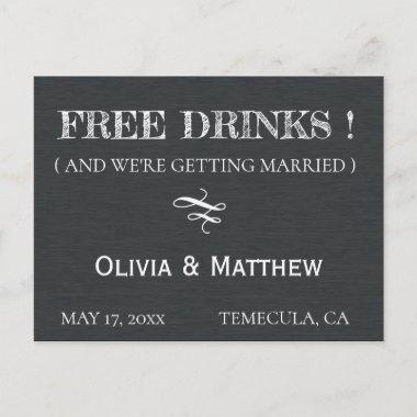 Rustic Chalkboard Deco FREE DRINKS Save the Date Announcement PostInvitations