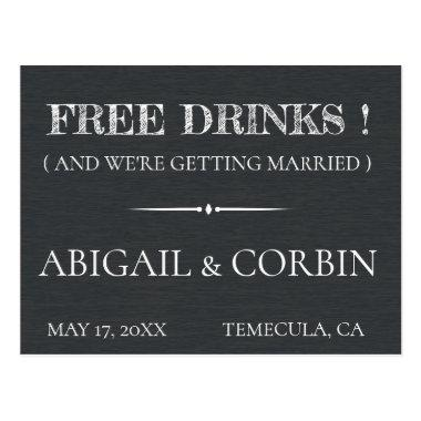 Rustic Chalkboard FREE DRINKS Save the Date Post