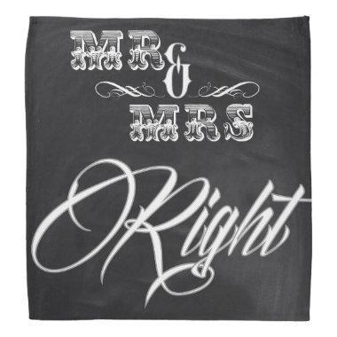 rustic chalkboard typography mr and mrs right bandana