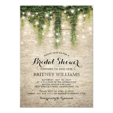 Rustic Chateau Stone Church Wedding Bridal Shower Invitations