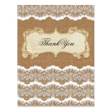 Rustic Chic burlap and lace country wedding PostInvitations