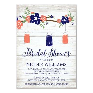 Rustic Coral Navy Mason Jar Branch Bridal Shower Invitations