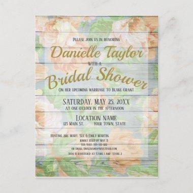 Rustic Coral Roses, Weathered Boards Bridal Shower Invitation PostInvitations