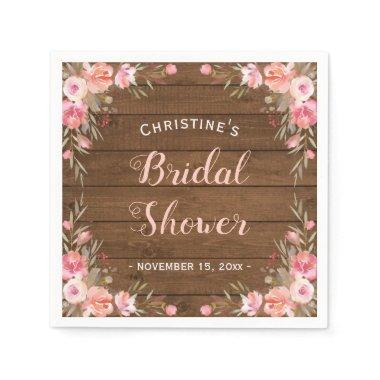 Rustic Country Chic Bridal Shower Floral Paper Napkin