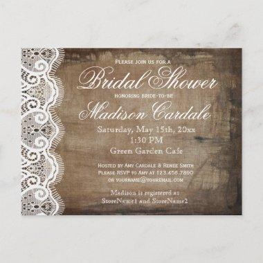 Rustic Country Lace Bridal Shower Invite PostInvitations