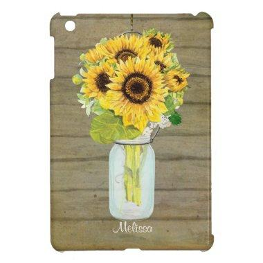 Rustic Country Mason Jar Flowers Sunflower Hanging Case For The iPad Mini
