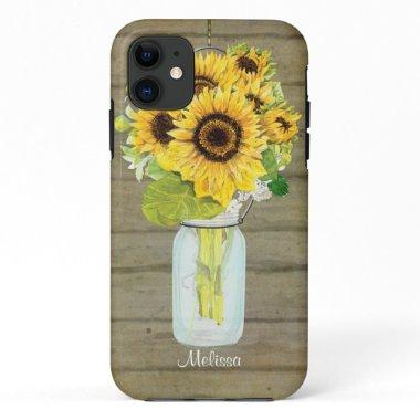 Rustic Country Mason Jar Flowers Sunflower Hanging iPhone 11 Case