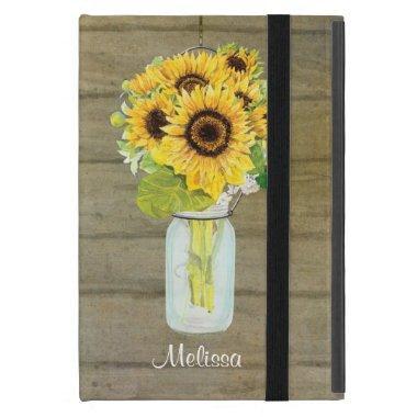 Rustic Country Mason Jar Flowers Sunflower Hanging iPad Mini Case