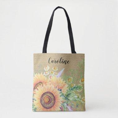 Rustic | Country Sunflowers | Custom Name Tote Bag