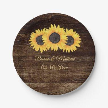 Rustic Country Sunflowers on Wood Paper Plate