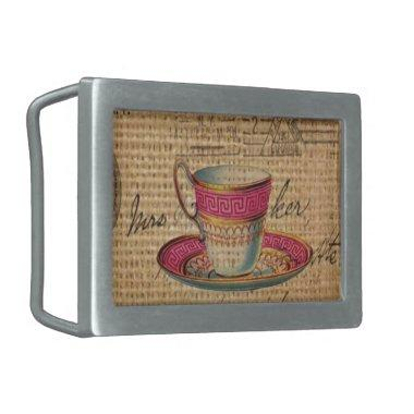 Rustic country tea party pink victorian teacup rectangular belt buckle