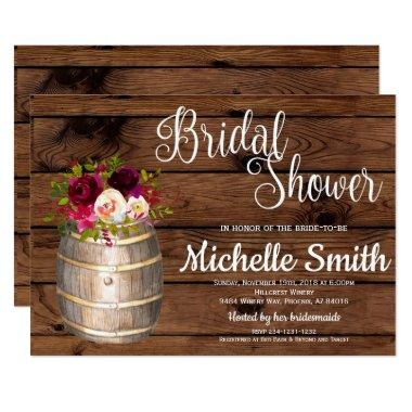 Rustic Country Wine Barrel Burgundy Bridal Shower Invitations