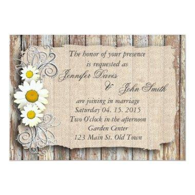 Rustic daisy barn wood wedding invite