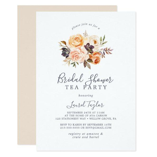 Rustic Earth Florals Bridal Shower Tea Party Invitations