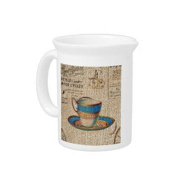 Rustic english country tea party blue teacup beverage pitcher