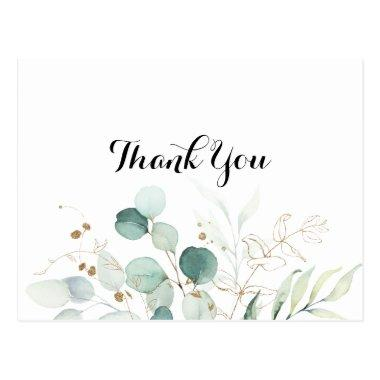 Rustic Eucalyptus Gold Floral Thank You PostInvitations