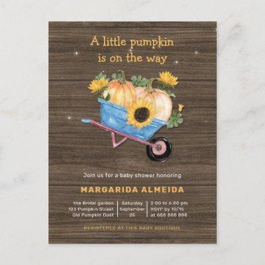 Rustic Fall Baby Shower Boy Little Pumpkin Autumn Invitation PostInvitations