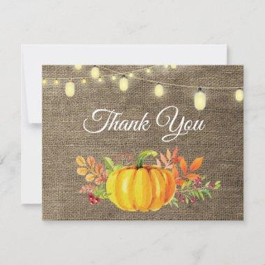 Rustic Fall Pumpkin Autumn Thank You Invitations