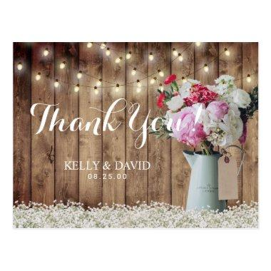 Rustic Floral Bouquet & String Lights Thank You Post
