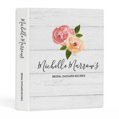 Rustic floral bridal shower recipes binder
