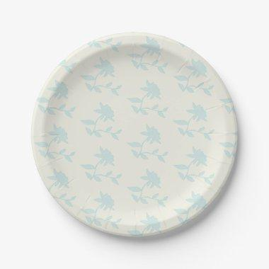 Rustic Floral Light Blue And Cream Paper Plate